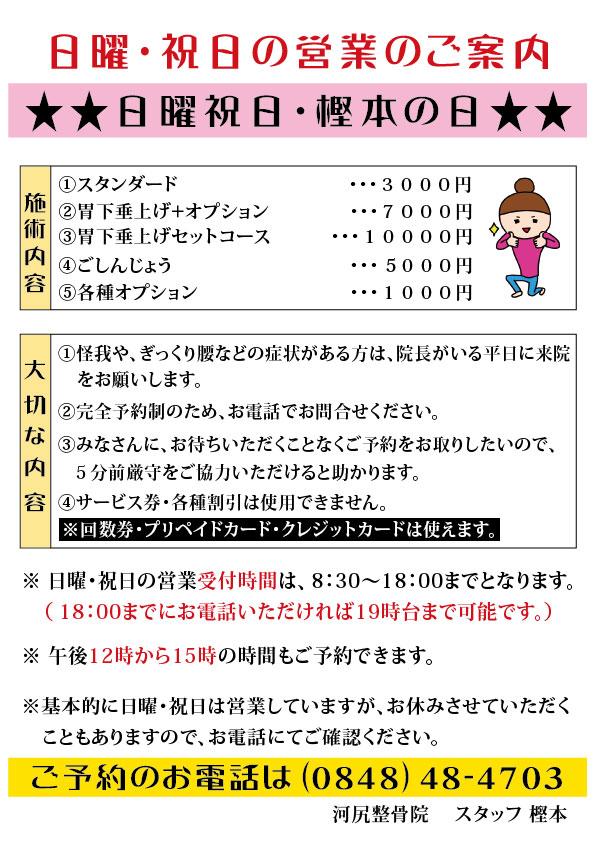 日曜日のお知らせ(新)3000